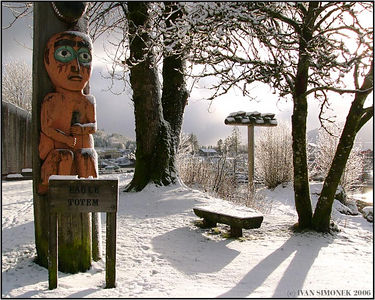 """EAGLE AND THREE FROGS TOTEMS"", Shakes island, Wrangell, Alaska, USA."