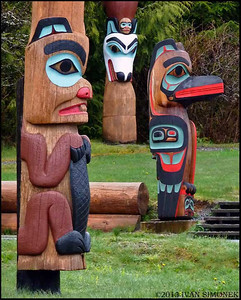 """THREE TOTEMS"", Saxman totem park, Ketchikan, Alaska, USA."