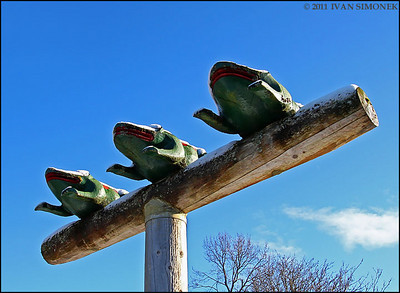 """THREE FROGS TOTEM"",Shakes island,Wrangell,Alaska,USA."
