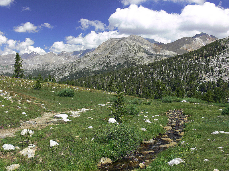 The vistas are spectacular once I go south on the John Muir Trail. Here's the scene looking north with Cardinal Mtn in the center and my hike-in point of Taboose Pass just out of sight on the right. Upper Basin is on the left.