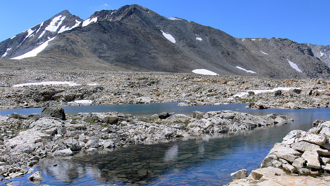 """Here's a """"panoramic"""" taken in the FZ30's 16:9 aspect ratio looking south from the top of the pass. Clear, cold tarns are here adding to the starkly-beautiful scenery at 11,000 feet. A few hundred feet further is the pass itself..."""