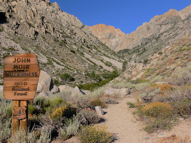 I enter the canyon and the John Muir Wilderness. The trail follows the creek but is above it so easy access to water isn't until about 3 miles from the trailhead.  That fruit-punch Gatorade sure is tasting good...