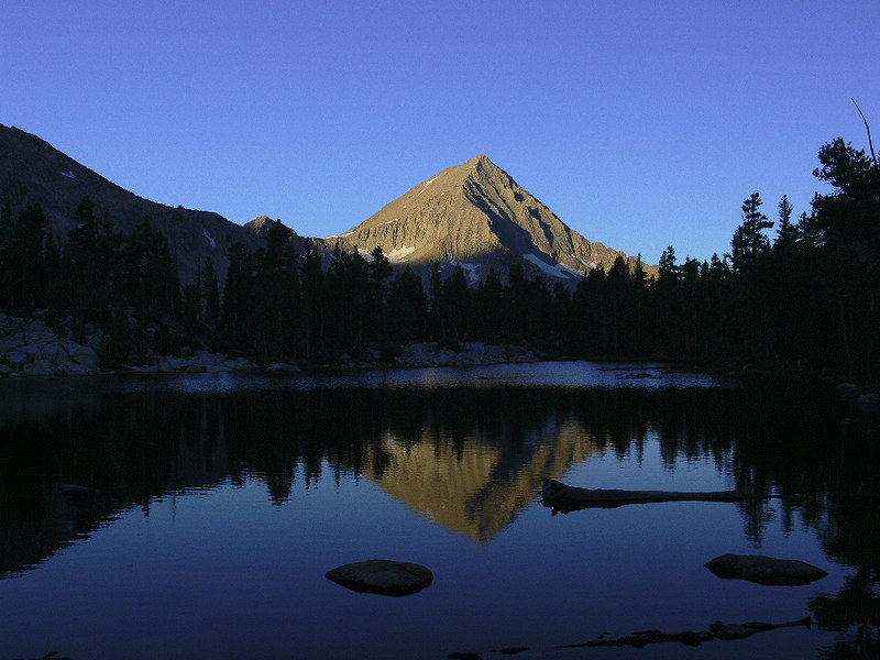 The many moods of Arrow Peak and its reflection on the water. This was taken at 6:35am the following morning with the sun beginning to cast its light on the peak. What a wonderful way to begin the dayhike south on the John Muir Trail towards Pinchot Pass...