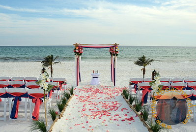 Navy & Coral & White Fabric, Navy & Coral Chair Sashes, Coral Rose Petals