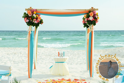 Turquoise & Orange & Ivory Fabric, Turquoise & Ivory Chair Sashes