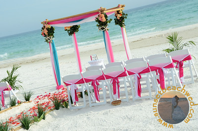 Hot Pink and Turquoise Fabric with Hot Pink and White Double Chair Sashes