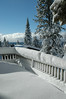 View of the deck after the night's snowfall.
