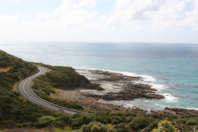 Cyclist on the twisty road to Cape Patton, The Great Ocean Road, Victoria, Australia