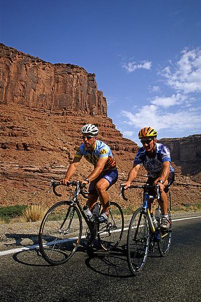 Road cyclist, Moab, Utah, USA