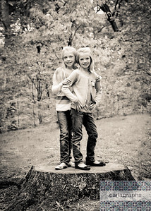 Girls on Tree Stump, warm bw (1 of 1)