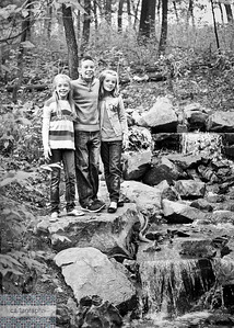 Kids by Waterfall bw (1 of 1)