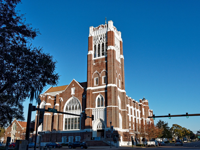 First Methodist Church of St. Petersburg, built in 1925 in Late Gothic Revival architectural style, in St. Petersburg, Florida.