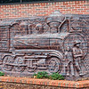 Locomotive sculpture on Lutz  Library