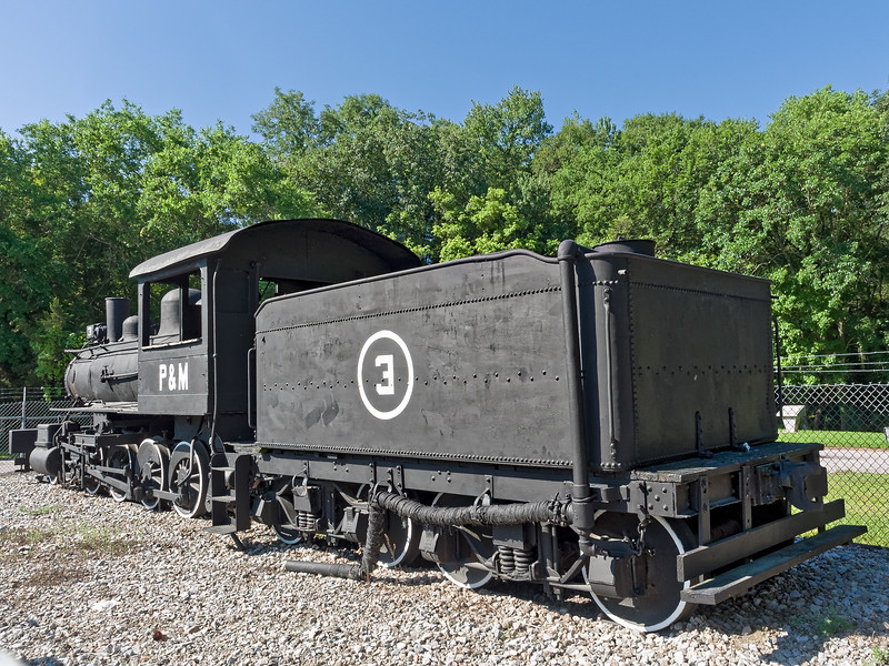 Patterson & McInnis 2-8-0. locomotive, operated during the 1940s and 1950s. A nearby informational sign states that the locomotive was originally a wood burner but was converted to steam.  It is currently on display in a park along highway 19 in <br /> Gulf Hammock, (south of Cedar Key) Florida