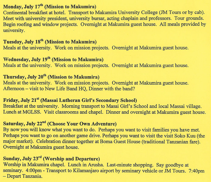 Trip itinerary (page 2 of 2)