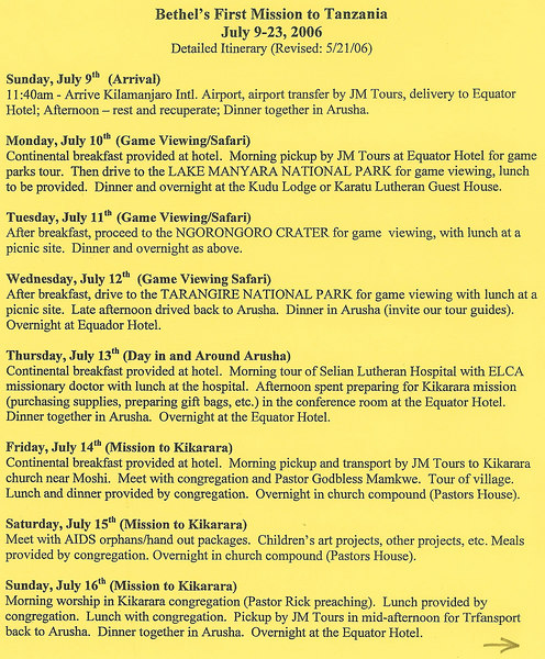 Trip itinerary (page 1 of 2)