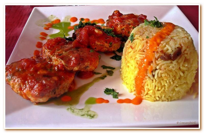 Lamb patties in marinara sauce at El Olivo Tapas Cafe