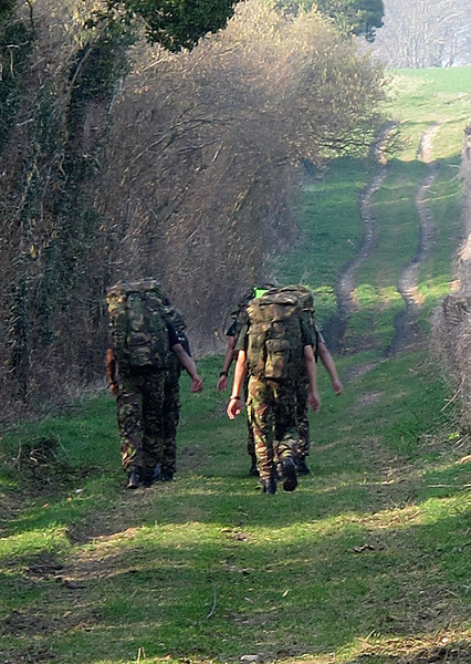 Fellow walkers; a group of Gurkha soldiers from the nearby Blandford Camp walking very fast in complete silence.