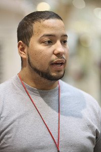 Daniel Soto Jr., age 21, machine operator from Lorain, discusses the end of the temporary Social Security tax reduction.  photo by Ray Riedel