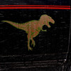t-rex being pelted with high-energy-particle weapons, which only serve to annoy her.