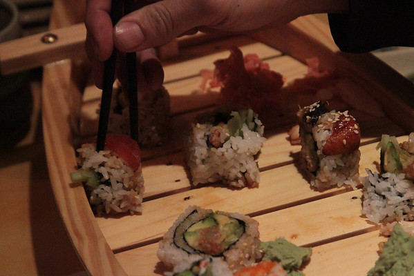 Here we are grabbing the sushi.