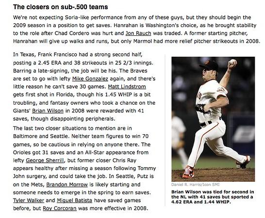 2009 02 11 ESPN com (Brian Wilson)