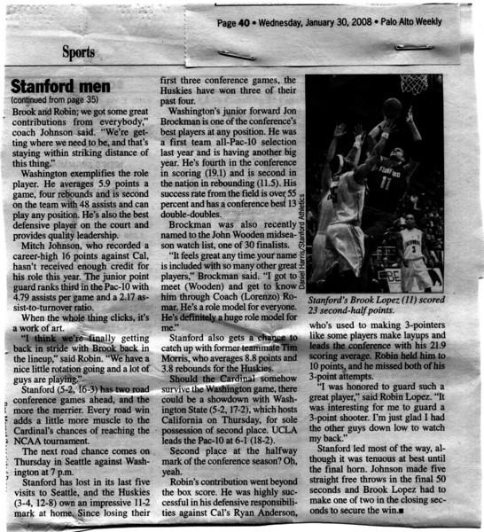 2008 01 30 Palo Alto Weekly (Brook Lopez)