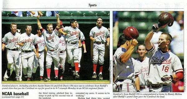 2008 06 04 Palo Alto Weekly (Stanford Baseball celebration)