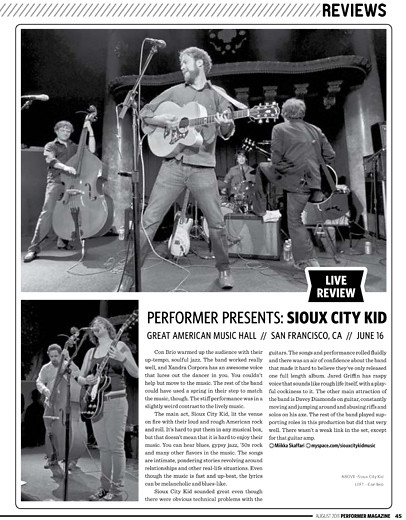 Performer Magazine, Aug 2011