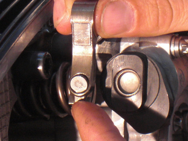 Rocker arm with adjuster (called a semi-sphere by BMW, we found it hard to say) held here in place here just by oil tension.