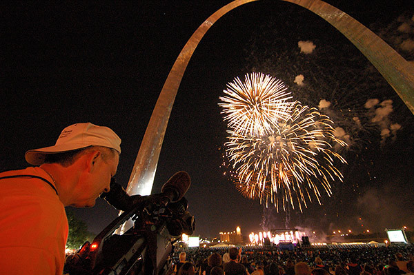 Fireworks under the Gateway Arch for the documentary produced by Civil Pictures