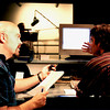 Writer/Producer Dave Topping discussing script timing with Technisonic audio engineer Jamie McGuire circa 1999 (and yet they don't appear to be partying).