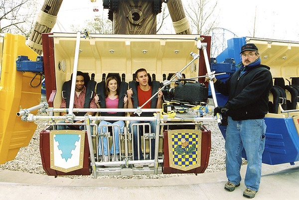David Houlle secures camera rigging for  a Six Flaggs television commercial shot by Technisonic Studios in 2003.