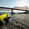 "DP Tom Newcomb shoots on the banks of the Mississippi for the documentary ""The Gateway Arch: A Reflection of America""."