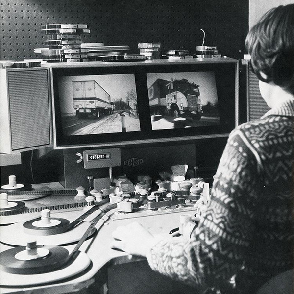 "A Steenbeck flatbed film editor being used at Technisonic Studios by Diane Ford. Assistant Cameraman Calvin Crane recalls that the project for the National Safety Council involved a very cold shoot in Stevens Point, Wisconsin around 1977.  ""As with many of our shoots from those days, they were full of mishaps, close calls and craziness. But somehow we all returned in one piece with enough film in the can to cut something together!""  (Photo from the Technisonic archive.)"