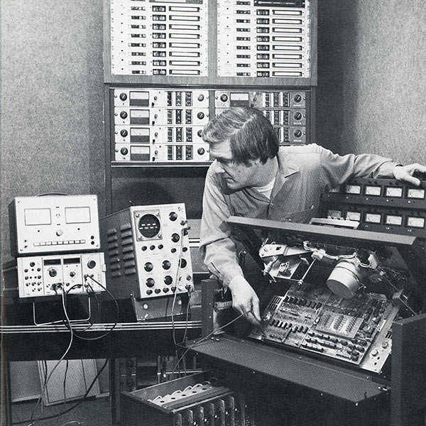 "When I first started working at Technisonic Studios, someone told me ""This is the 24-track reel-to-reel that Michael Jackson used to record 'Thriller'.""  Later I realized they meant the same MODEL, not the actual tape recorder.  This photo of engineer Dick Grady was taken long before I worked at Technisonic.  (Photo from the Technisonic archive.)"