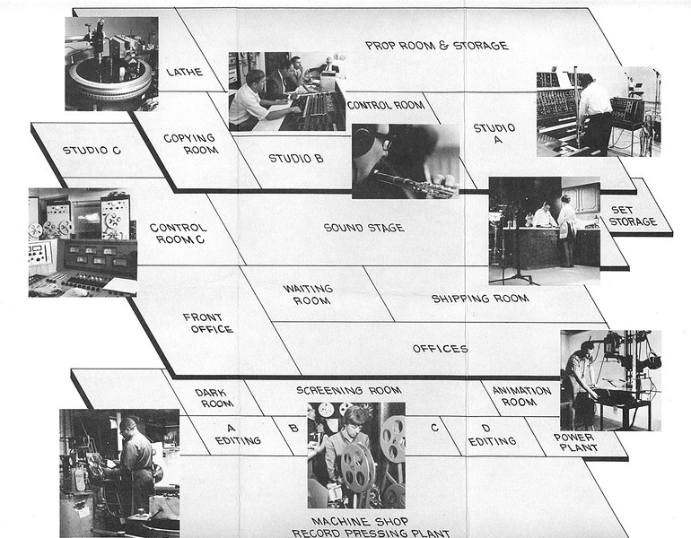 The layout of Technisonic Studios when it was located on Brentwood Boulevard in St. Louis.  (Image from the Technisonic archive.)