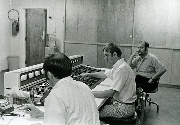 "Albert Bussen (center) at the mixing console at Technisonic Studios. In 1959, Ike & Tina Turner recorded their first hit single at Technisonic, ""A Fool in Love.""  Ed Canter, former president of Technisonic, was the recording engineer:  ""Ike Turner had written that song for somebody else. Ike showed up with this girl.  Her name was Annie Bullock, but Ike always billed his act down at the Club Imperial as 'Ike and Tina Turner.'  Whoever the vocalist happened to be became 'Tina.'""  (Photo courtesy of Albert Bussen.)"