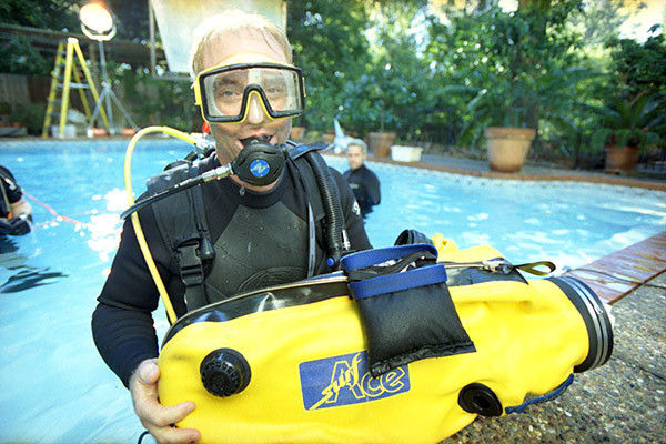 DP Tom Newcomb prepares for an underwater shoot.