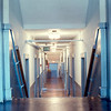 An interior hallway in Smith Dormitory, late 1960s.  Techwood was similar.  Linoleum floors everywhere.