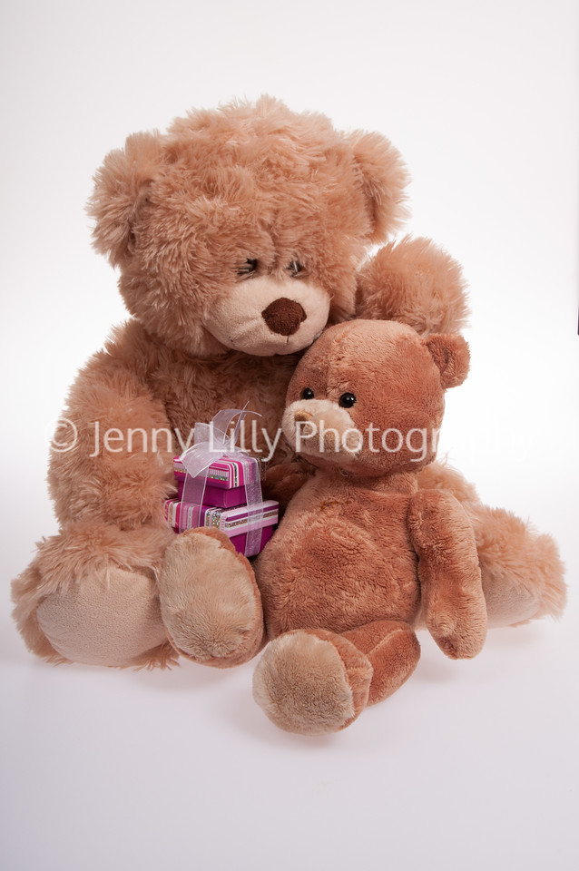 two teddy bears cuddling with presents, isolated on white background
