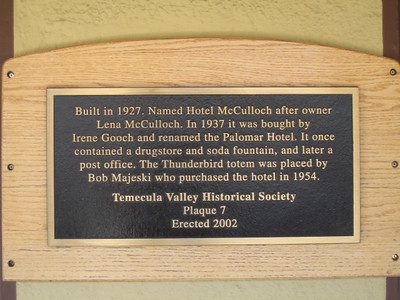 9/3/08 The Palomar Hotel (1927), Front & 5th St., Old Town Temecula, SW Riverside County, CA