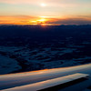 Sunset over the Rockies as we approached Calgary.