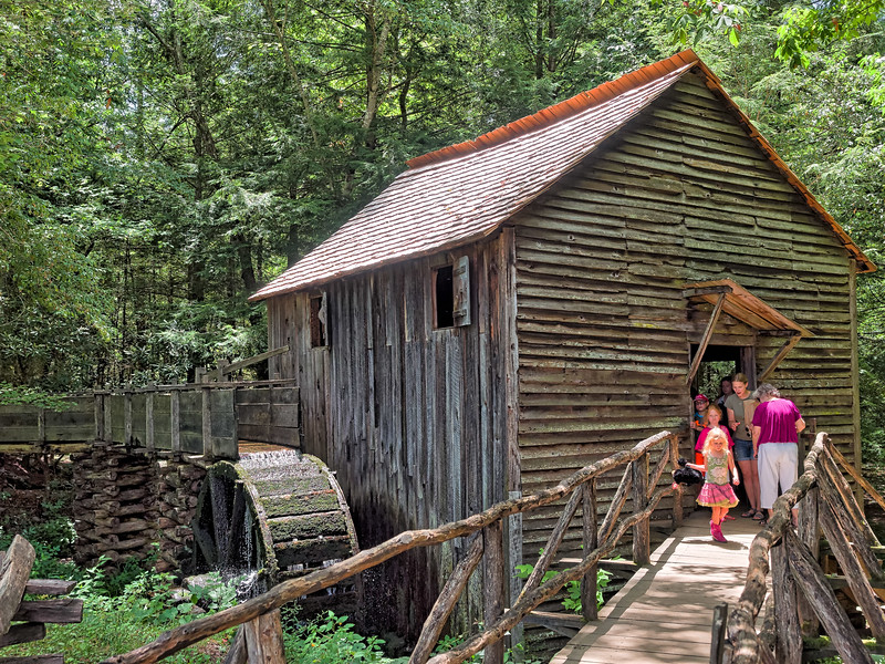 Visitors at Grist Mill in Cades Cove