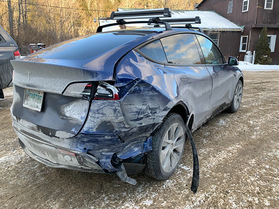 Damage to my Tesla in an accident in Vermont.