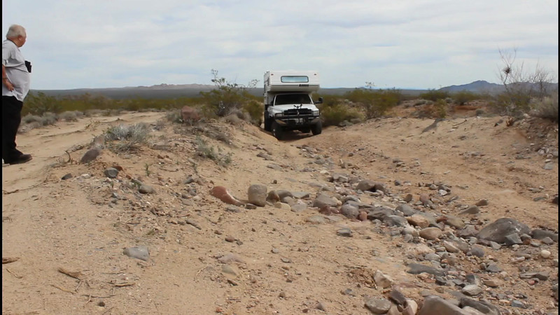 Jeff crossed this off camber section, located just pass Ca.95 on the Mojave Road Trail. the rest of when around this section.