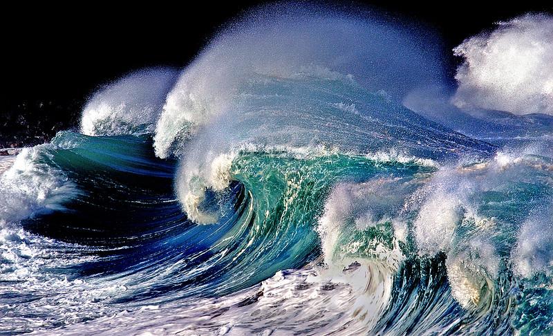 Sculpted Waimea surf, waves, Hawaii, Waimea