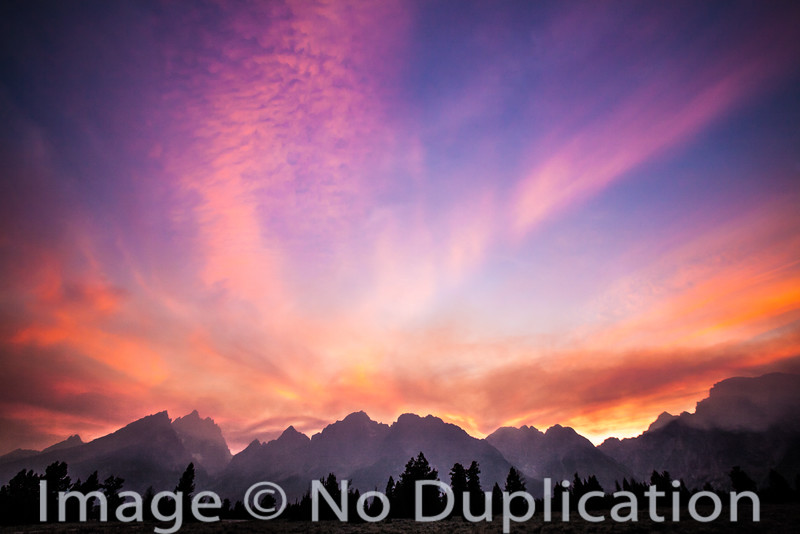 Fire sunset, Teton Mouhtains, Grand Teton National Park