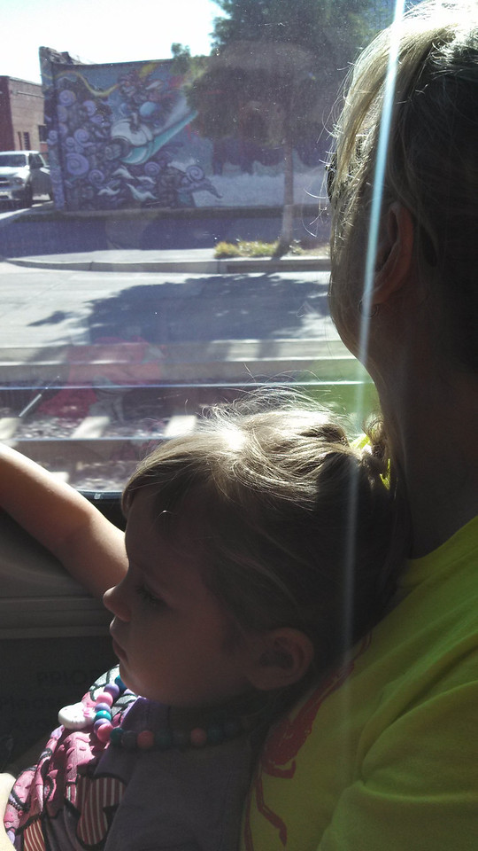 Laney and momma relaxing on the DART train on the way home