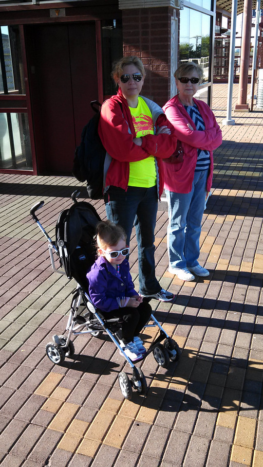 Nana, Deena, and Laney waiting for the DART train.